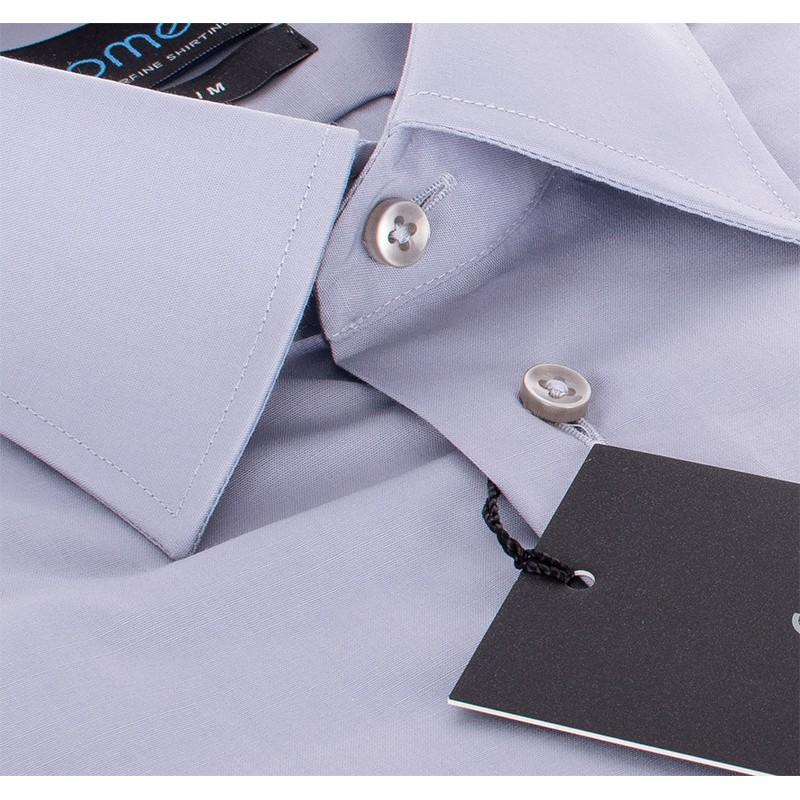 Szara gładka bawełniana koszula Comen z krótkim rękawem - slim