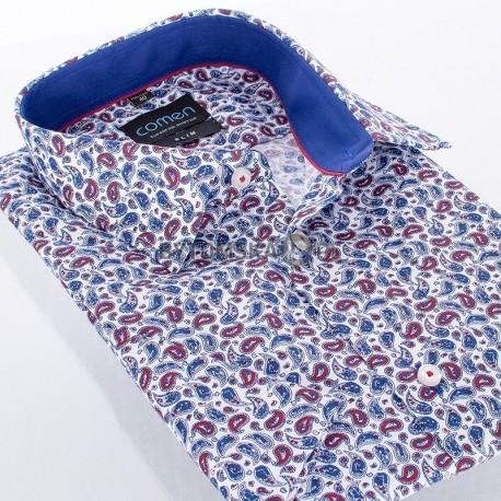 Koszula Comen z krótkim rękawem wzór granatowy i bordowy motyw paisley