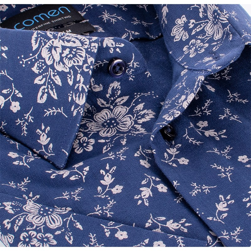 Granatowa koszula Comen z krótkim rękawem i wzorem w duże kwiaty