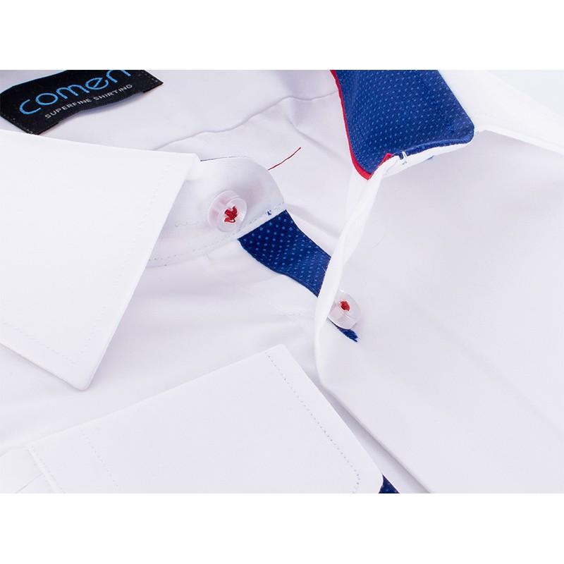 Biała gładka koszula Comen z długim rękawem i granatowymi akcentami - slim