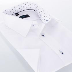 Biała koszula Comen kołnierzyk wykończony w romby - krótki rękaw slim