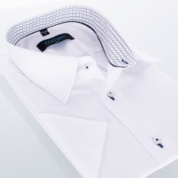 Biała gładka koszula Comen z wykończeniem wnętrza kołnierza - slim