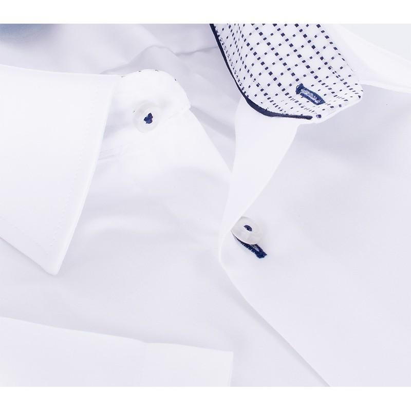Biała gładka koszula Comen z wykończeniem kołnierza - krótki rękaw slim