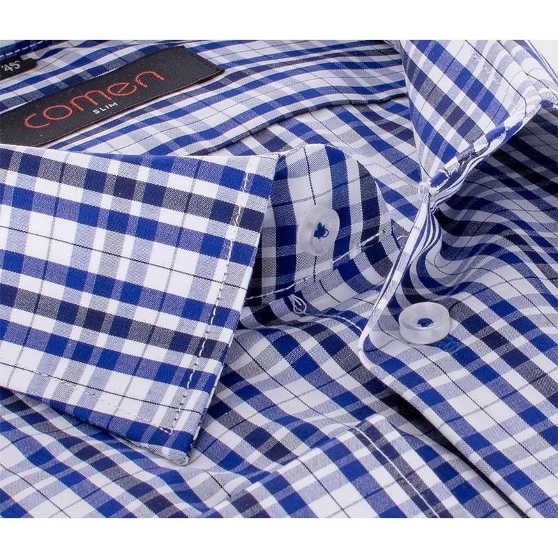 Biała koszula Comen w granatowo-niebieską kratę z długim rękawem