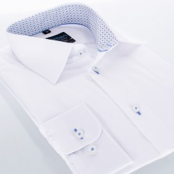 Biała gładka koszula Comen długi rękaw wykończenie kołnierza w kwadraty