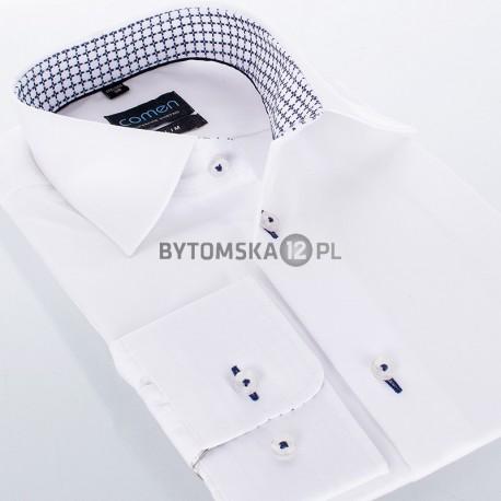 Biała gładka koszula Comen z długim rękawem kołnierz wykończony w krzyżyki