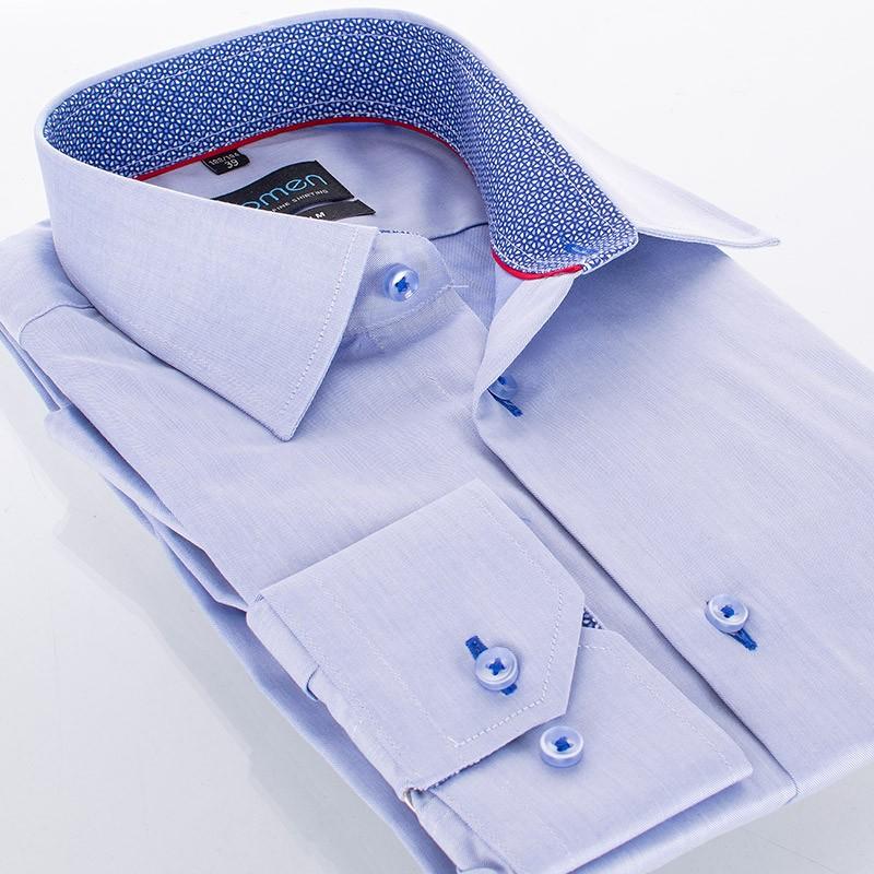Niebieska koszula Comen długi rękaw z wykończeniem kołnierza w rozety