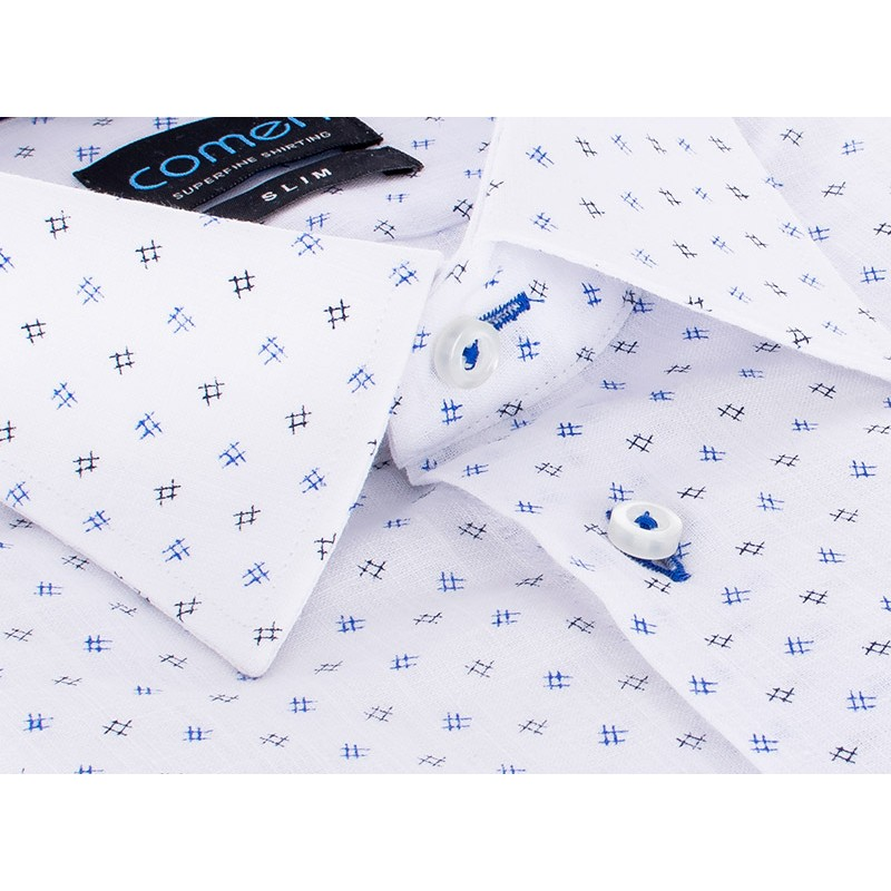 Biała koszula Comen ze wzorem w niebieskie hasztagi - krótki rękaw slim