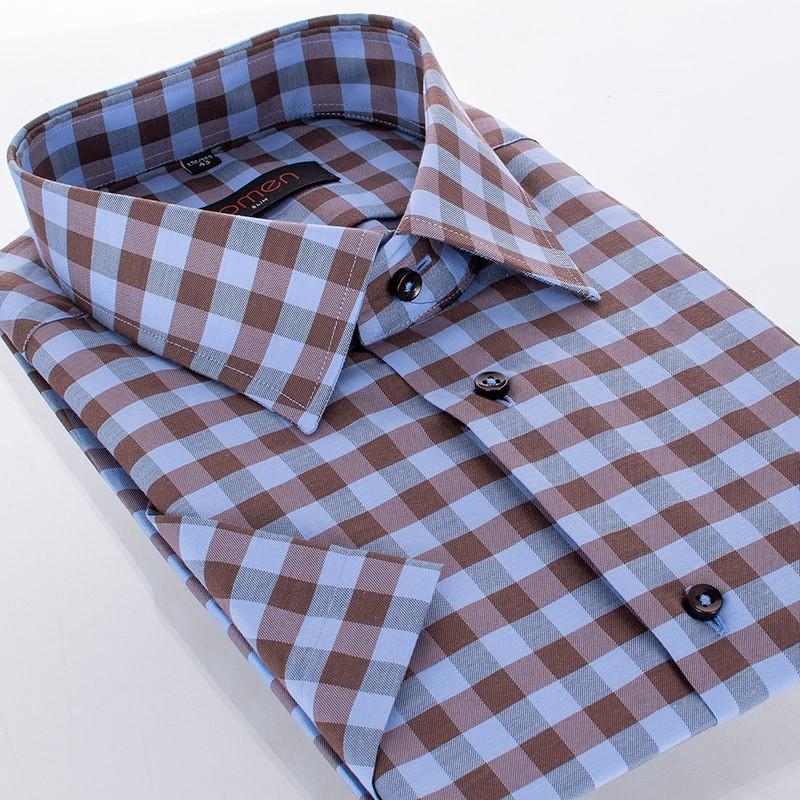 Bawełniana koszula Comen z krótkim rękawem w niebiesko-brązową kratę