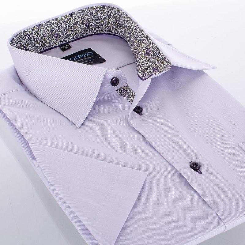 Koszula Comen z kr. rękawem slim wrzosowy
