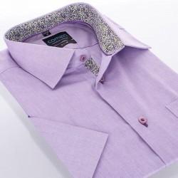 Koszula Comen z krótkim rękawem slim fioletowa wykończenie kwiaty