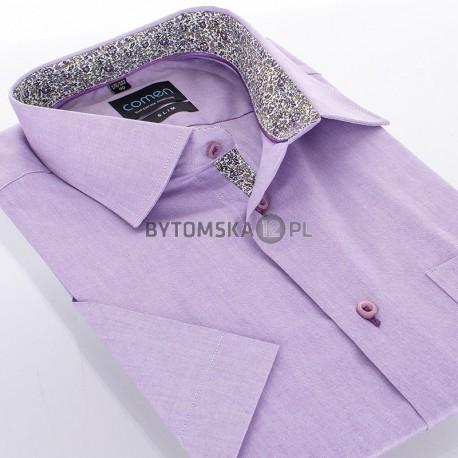 Koszula Comen slim fioletowy krótki rękaw
