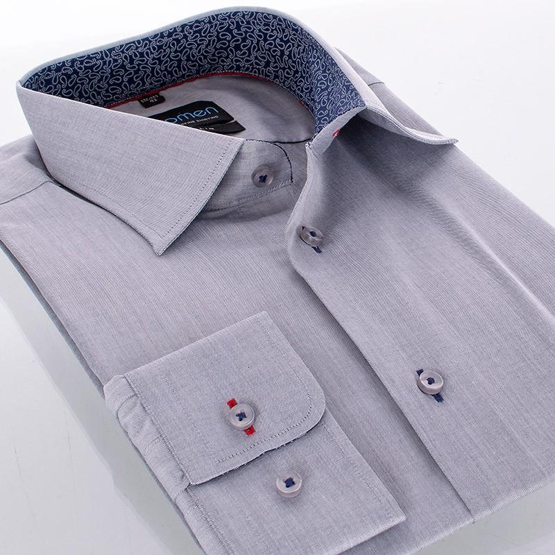 koszula Comen z długim rękawem taliowana - szara