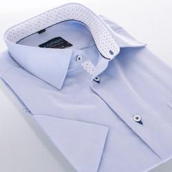 Niebieska koszula Comen z krótkim rękawem zwężana wykończenie krzyżyki