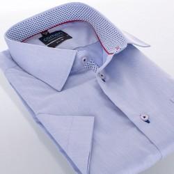 Koszula Comen taliowana krótki rękaw niebieska wykończenie szachownica