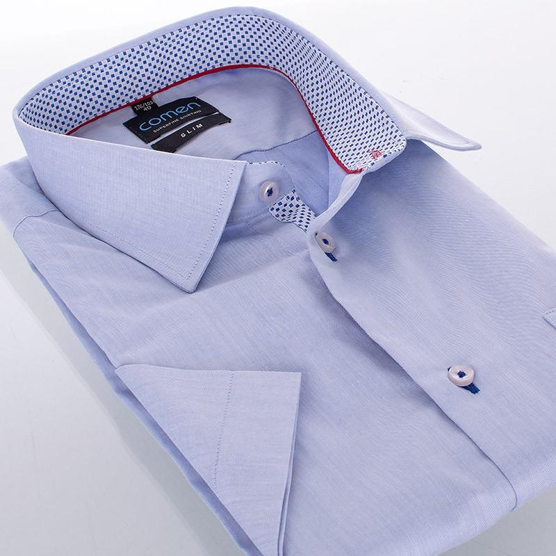 Koszula Comen slim - niebieska z kr. rękawem
