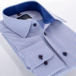 Koszula Comen długi rękaw slim w niebieskie kwadraty 39 40 41 42 43 44