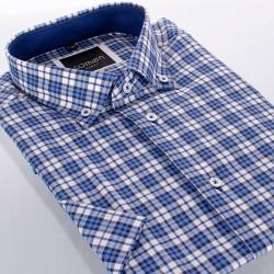 Koszula Comen z krótkim rękawem niebieska kratka 39 40 41 42 43 44