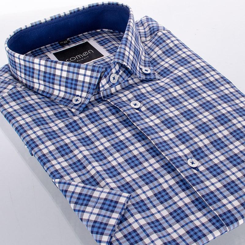 Koszula krótki rękaw Comen w niebieską kratkę