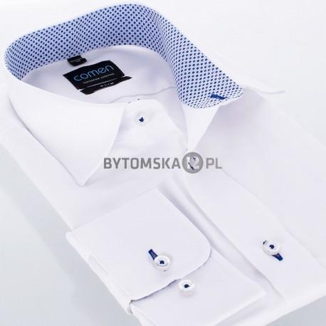 Biała koszula Comen slim z wykończeniem w kwadraciki