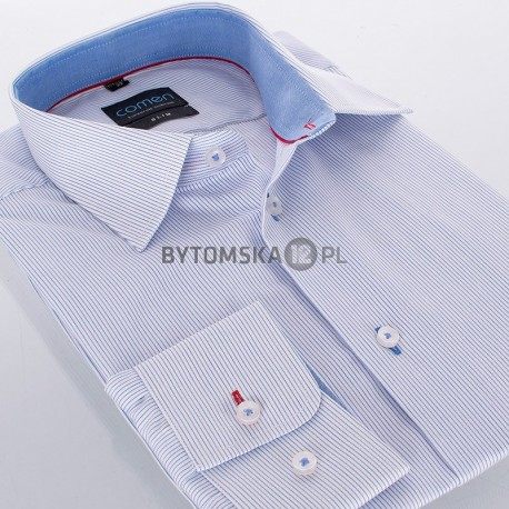 Koszula dł. rękaw Comen slim biała w drobne paski