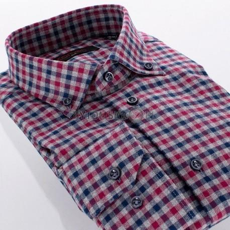 Czerwono-szara koszula flanela Comen w kratkę