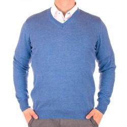 Niebieski sweter w szpic Lidos 1203 bawełniany roz. M L XL 2XL 3XL