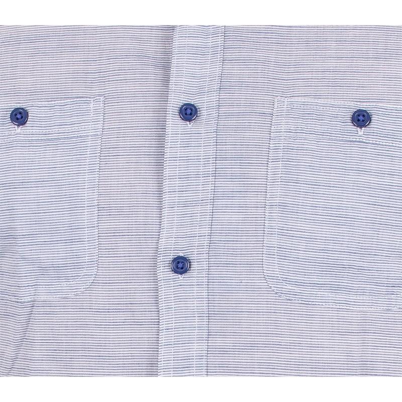 Koszula z krótkim rękawem Pako PJKR 3 Boa - jasnoniebieska w paski