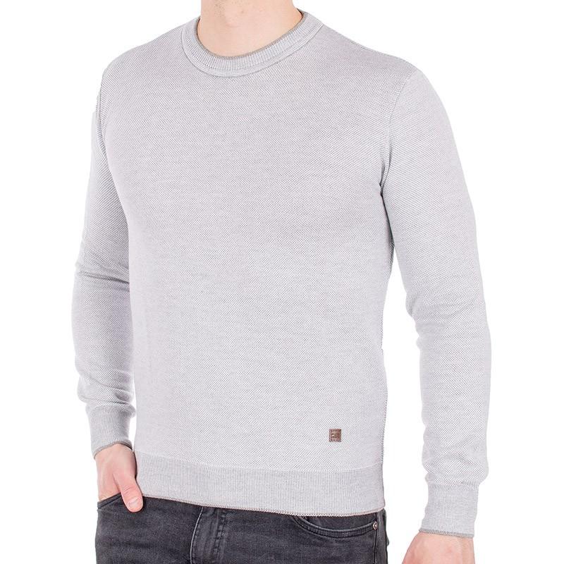 Popielaty sweter u-neck Jordi J-506 pod szyję