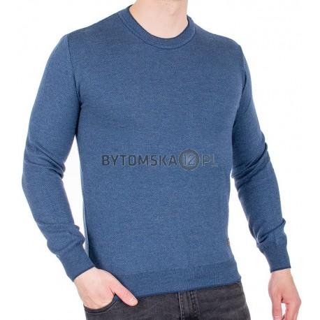 Ciemnoniebieski sweter u-neck Jordi J-506 bawełniany