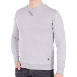 Sweter Jordi J-508 popielaty v-neck szalowy z guzikami