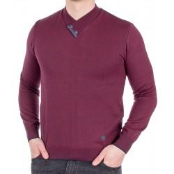 Bordowy sweter Jordi J-508 v-neck szalowy z guzikami