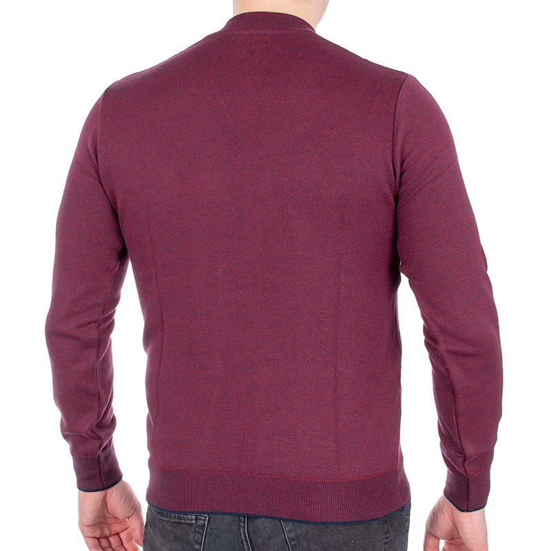 Bordowy sweter Jordi J-508 v-neck z guzikami