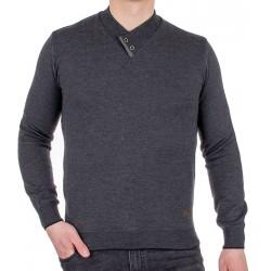 Grafitowy szalowy sweter Jordi J-508 v-neck z guzikami M L XL 2XL 3XL