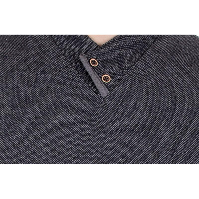 Grafitowy szalowy sweter Jordi J-508 v-neck z guzikami