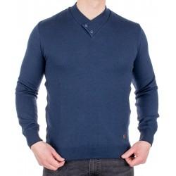 Granatowy sweter Jordi J-508 v-neck z guzikami