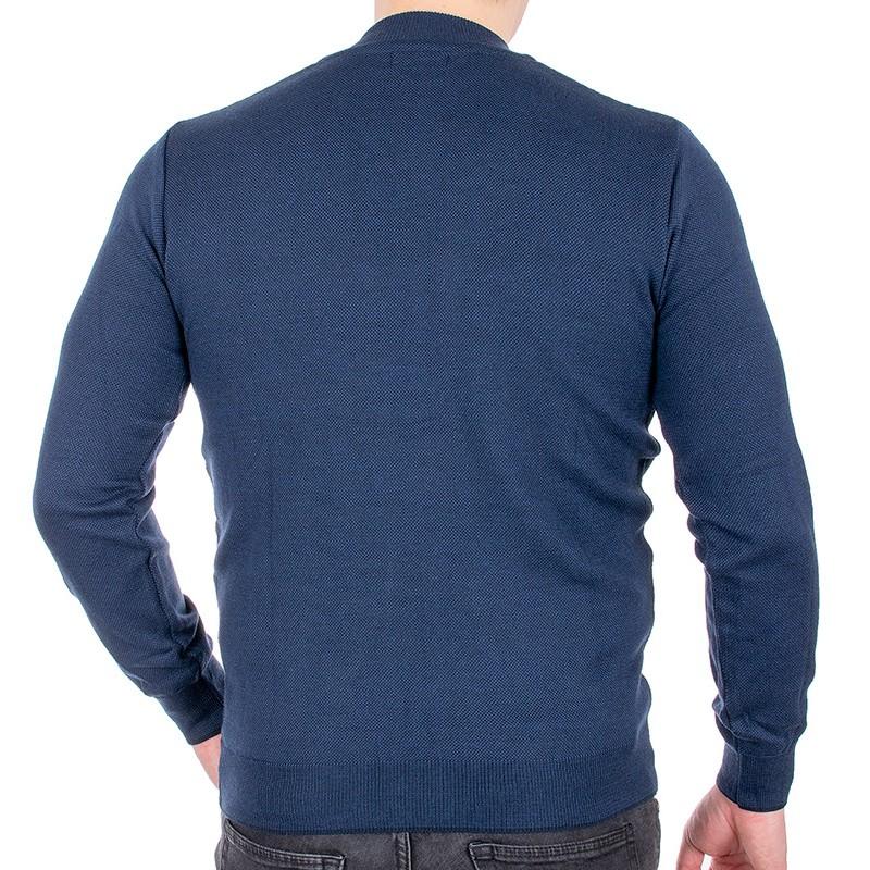 Granatowy szalowy sweter Jordi J-508 v-neck z guzikami