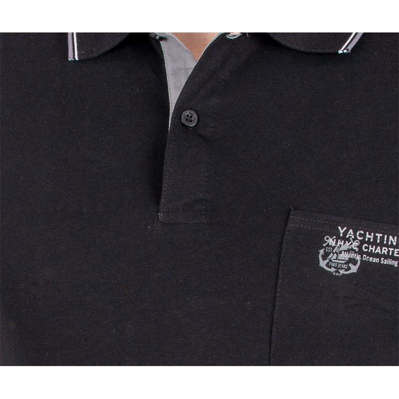 Czarna koszulka Pako Jeans TM polo Rich z kieszenią - krótki rękaw