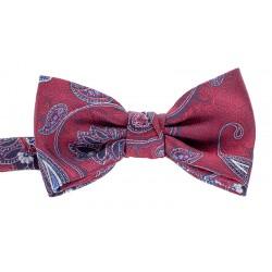 Czerwono-bordowa muszka męska Chattier 01 z motywem paisley i poszetką