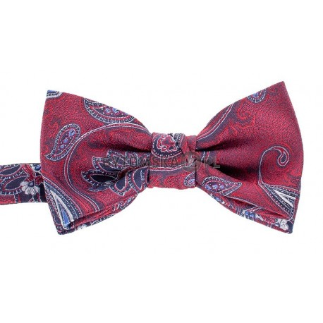 Czerwono-bordowa muszka męska Chattier 01 z motywem paisley