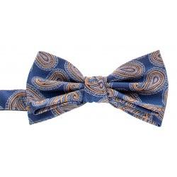 Niebiesko-złota muszka męska Chattier 06 z motywem paisley i poszetką