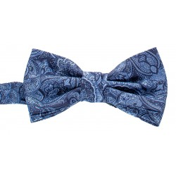 Granatowo-niebieska muszka męska Chattier 18 ze wzorem i poszetką