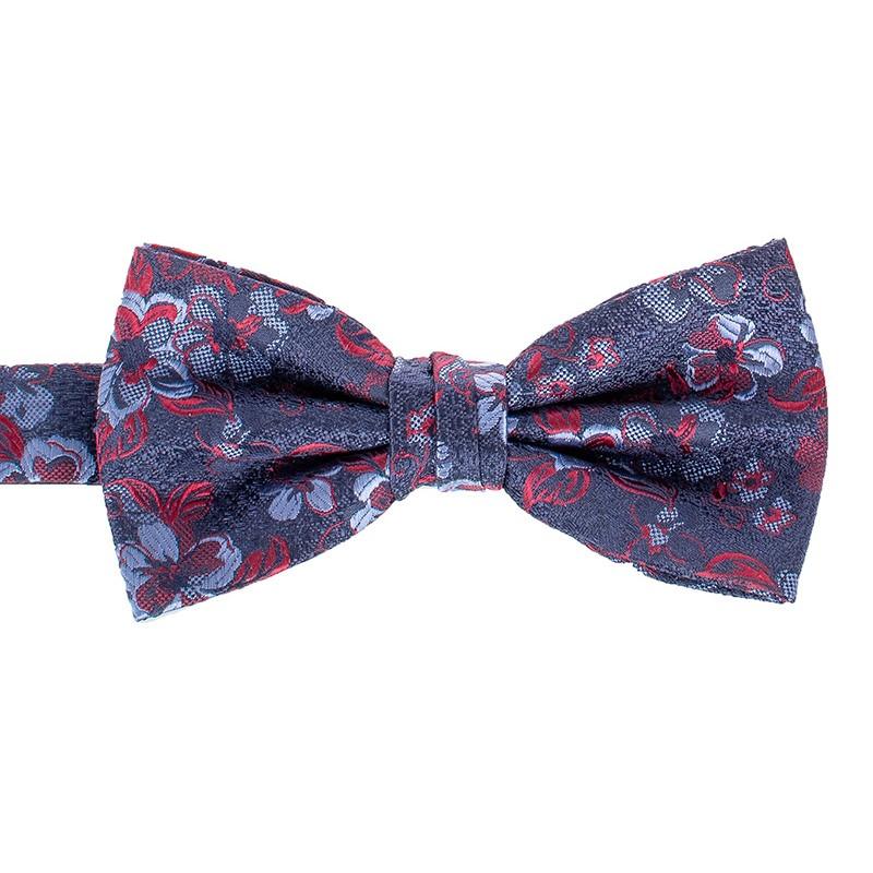 Granatowa muszka Chattier 04 z czerwono-niebieskimi kwiatami z poszetką