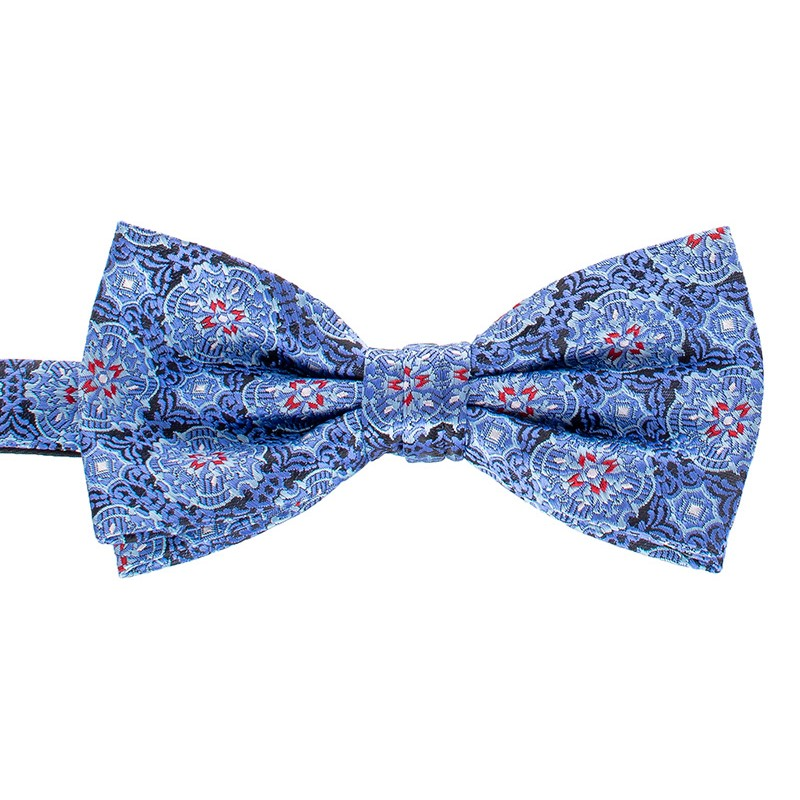 Błękitno-niebieska muszka Chattier 15 ze wzorem tureckim i poszetką