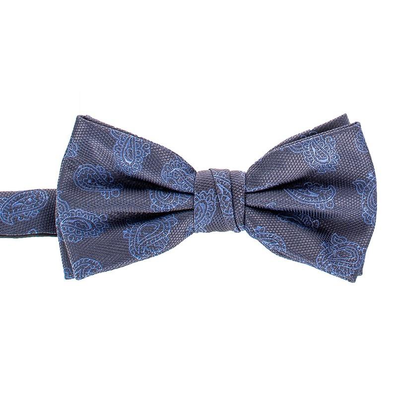 Szara muszka Chattier 08 z niebieskim wzorem paisley i poszetką