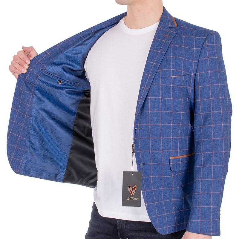 Niebieska marynarka Suitroom Favorite 21514 w kratę