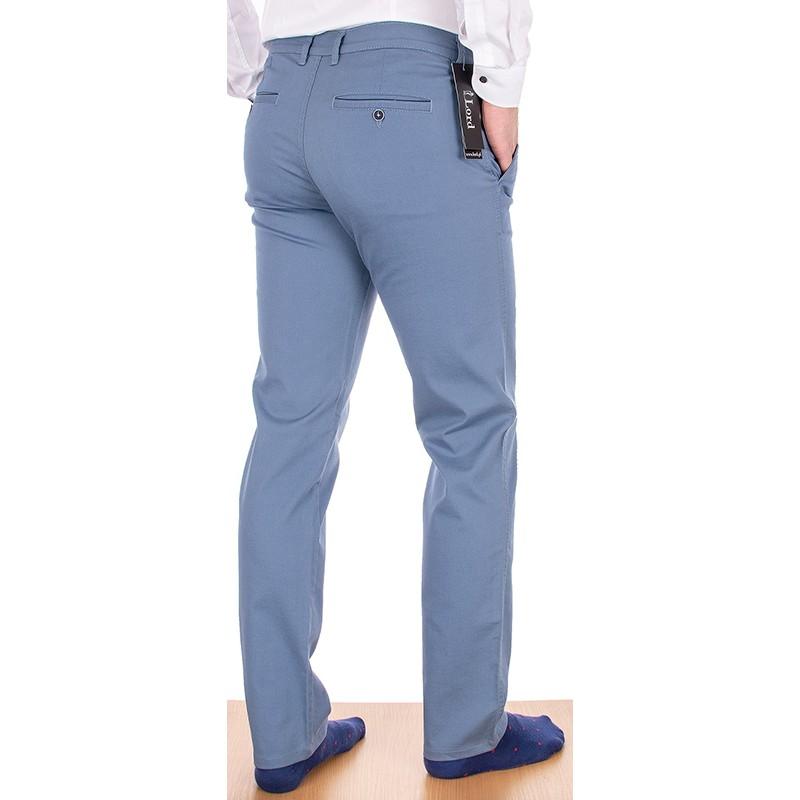 Męskie niebieskie bawełniane spodnie Lord R-67 chinos