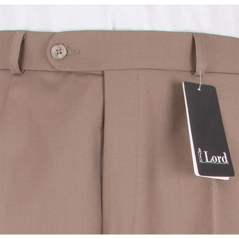 Niezwężane spodnie Lord wełniane w kant - ciepły beż
