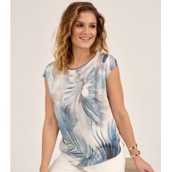 bluzka damska Sunwear D13-2-15 beżowo niebieska rozm 38 40 42 44 46 48
