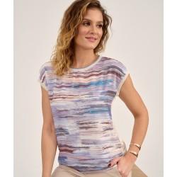 bluzka Sunwear D14-2-25 beżowo fioletowa rozmiar 40 42 44 46 48